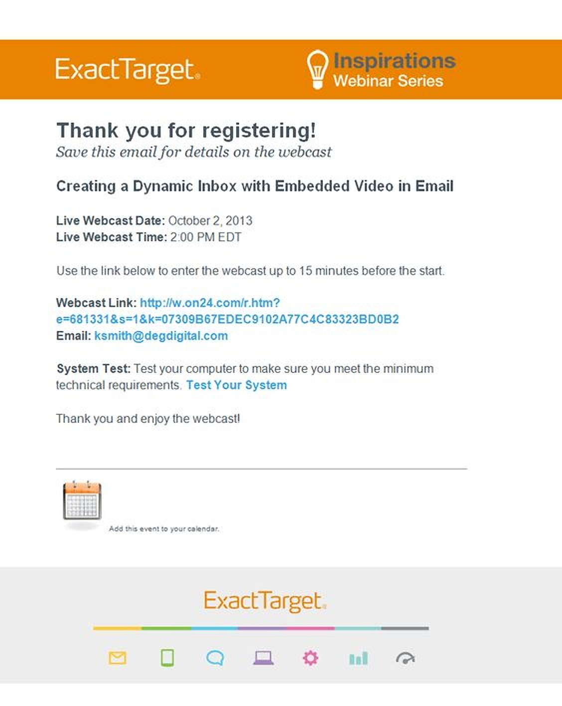 Webinar confirmation email example