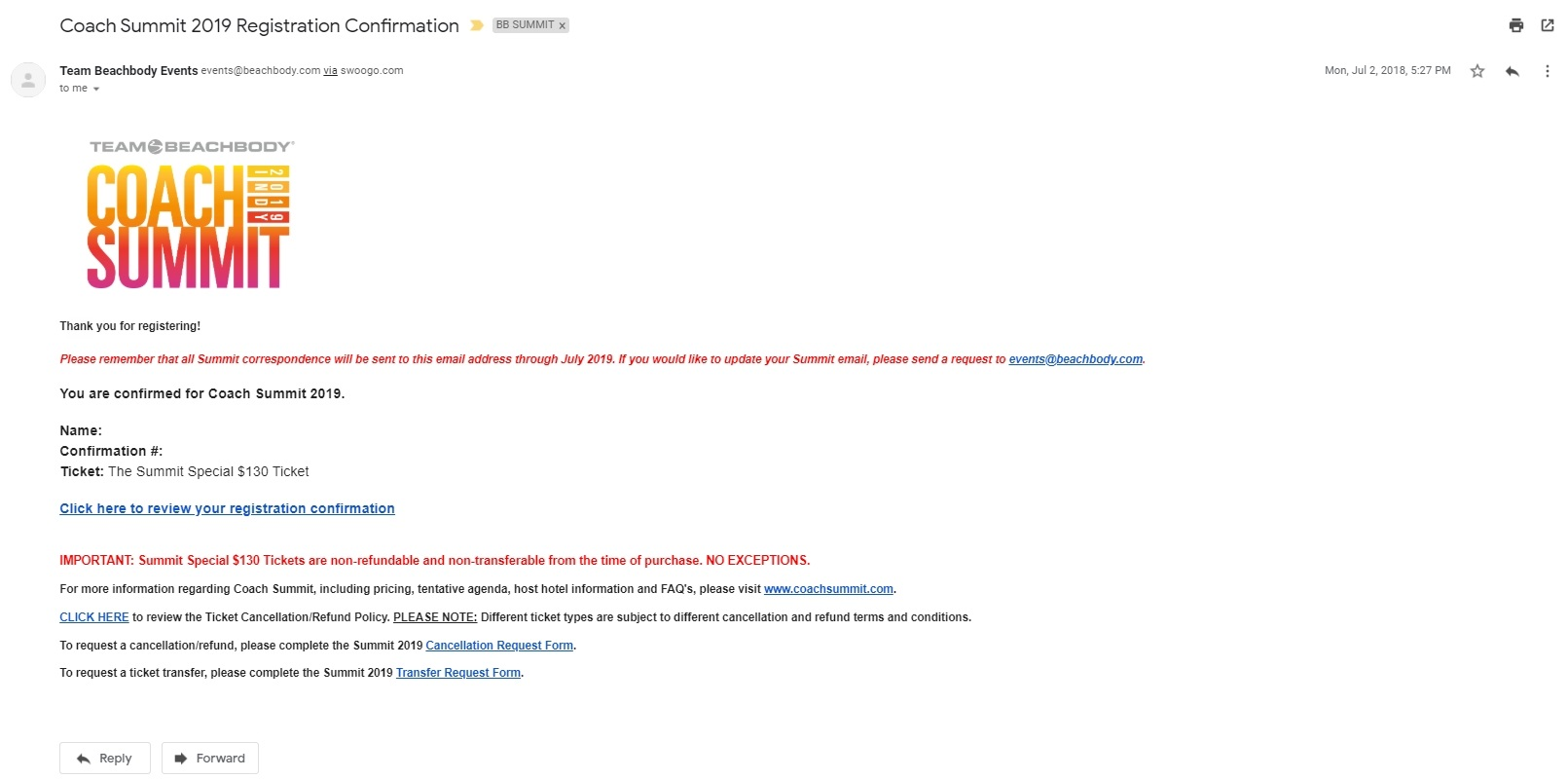Example of a Plaintext confirmation event email
