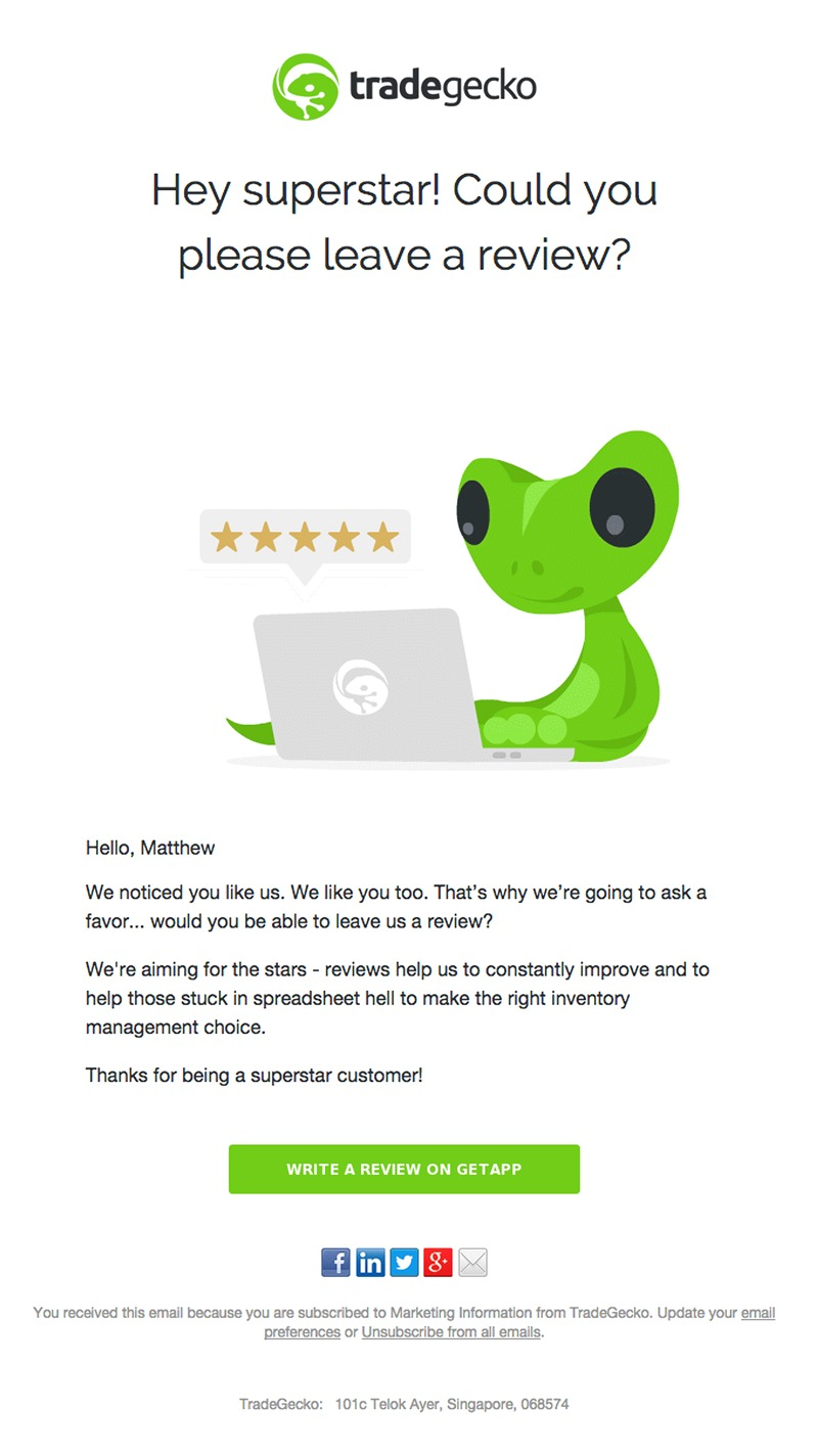 TradeGecko email asking customers for feedback