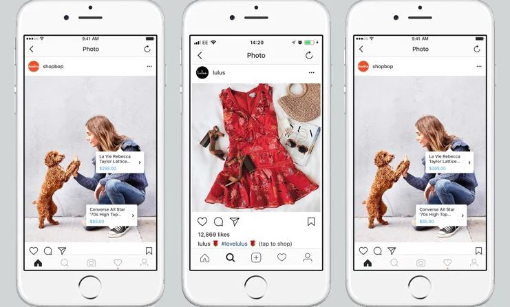 Three mobile devices with social posts and shopping options