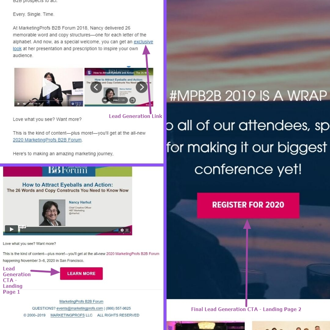Email marketing and landing page examples