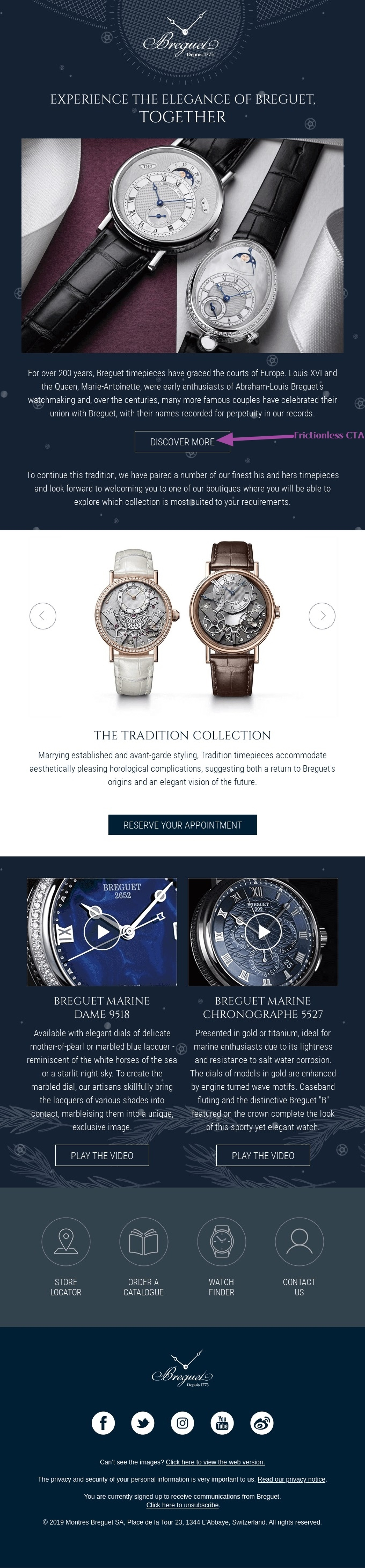 Example of an actionable, frictionless CTA from Breguet