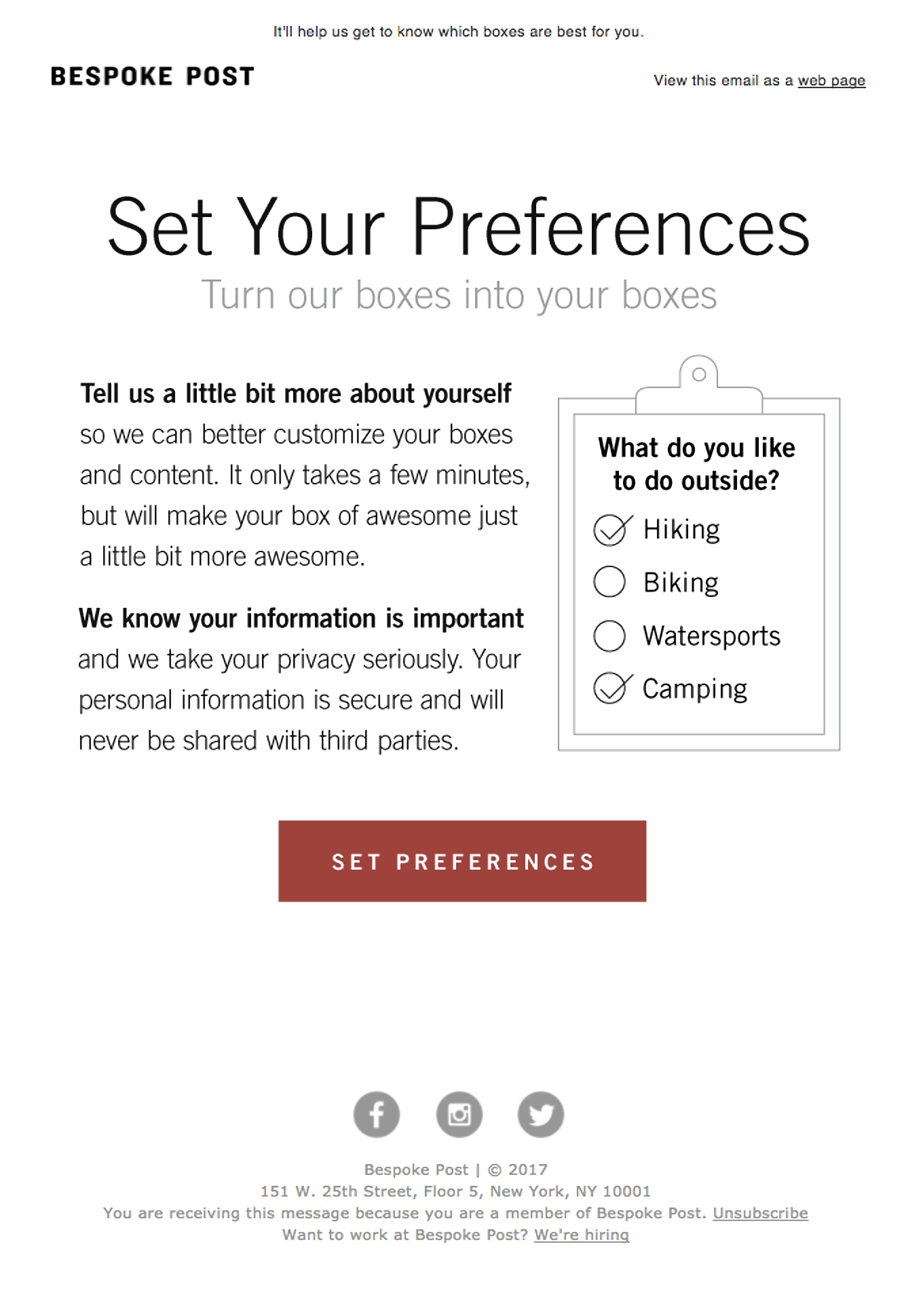 Email Preference Center Example