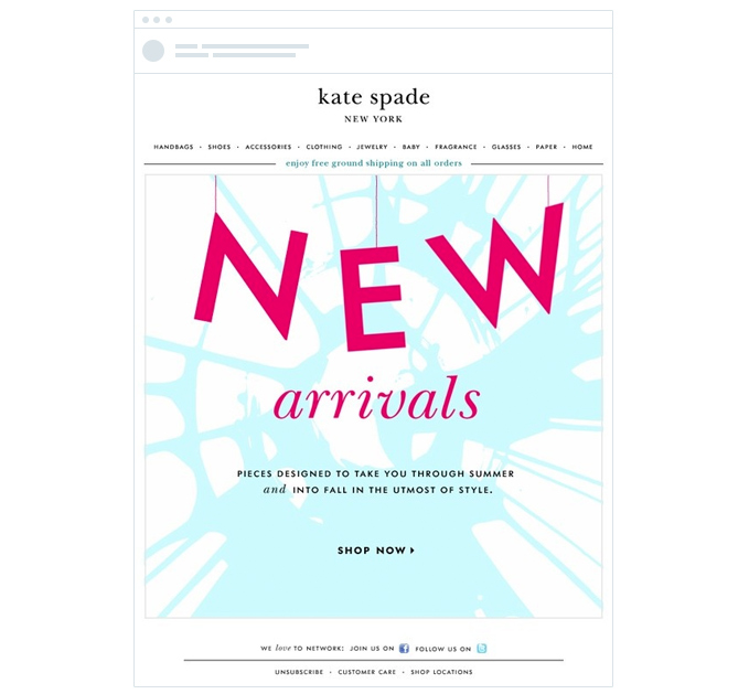 A Kate Spade inventory update email example
