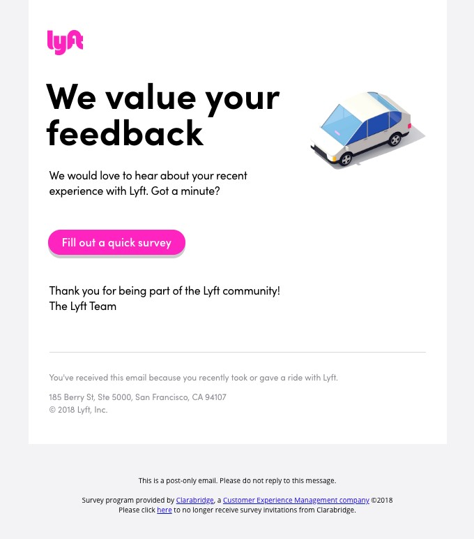 Lyft asks for customer feedback in emails