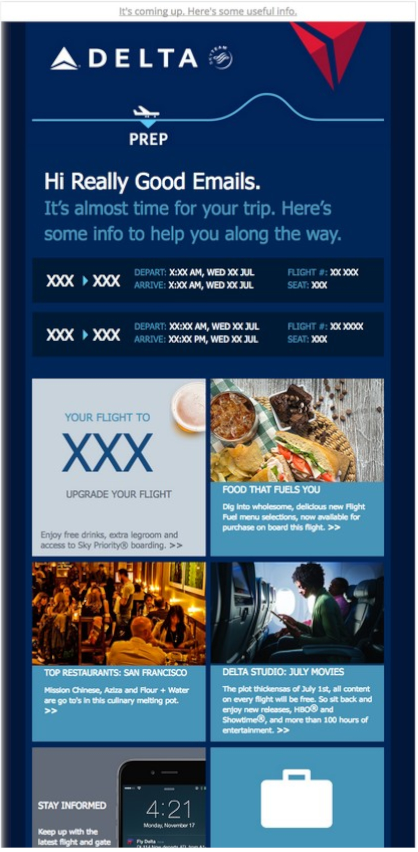 Itinerary details give you the opportunity to market other services.