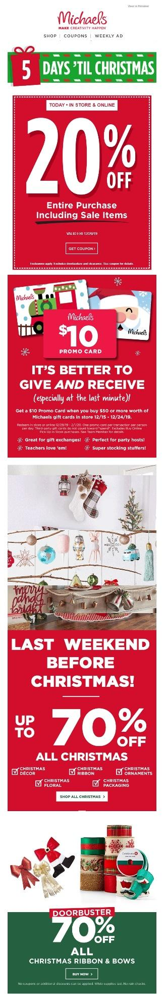 Holiday email examples of exclusive, last-minute deals