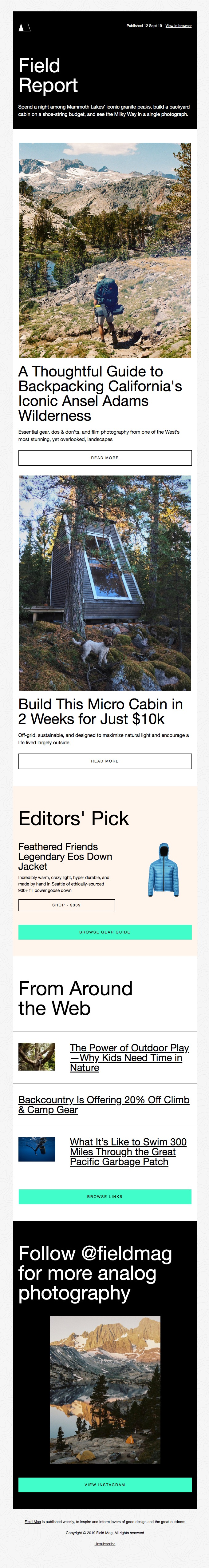 Field Mag sends personalized newsletter
