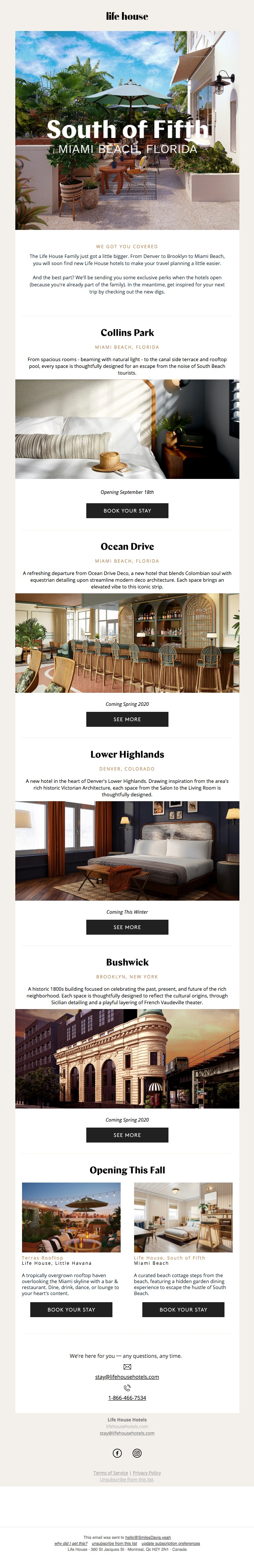 Life House Hotels includes social share buttons in newsletter