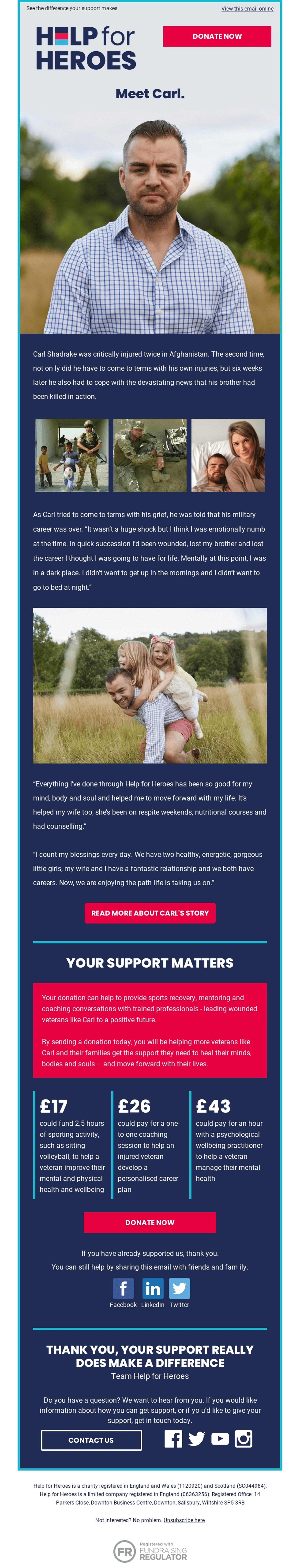 Help for Heroes email using hope as an emotional trigger by telling real stories