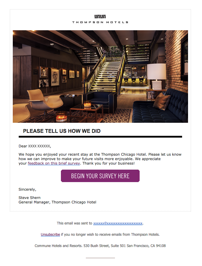 Thompson Chicago Hotel requests a survey.