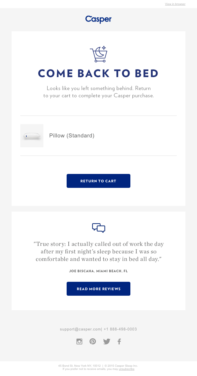 Casper uses email to ask for reviews.