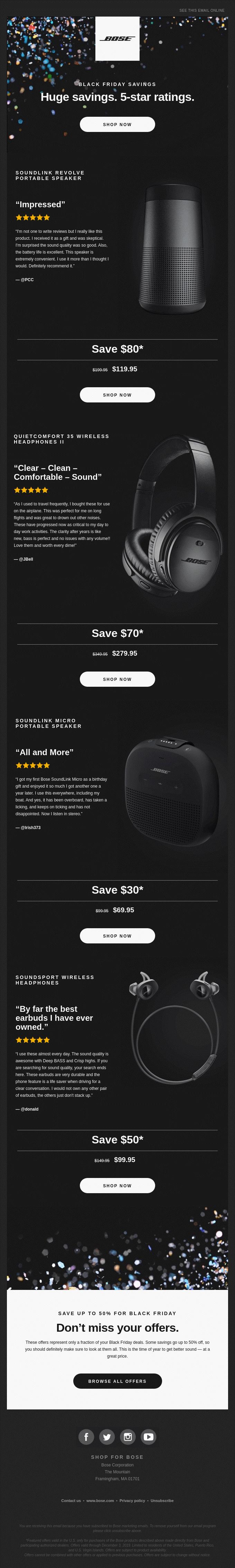 Bose uses testimonials in a Black Friday email.