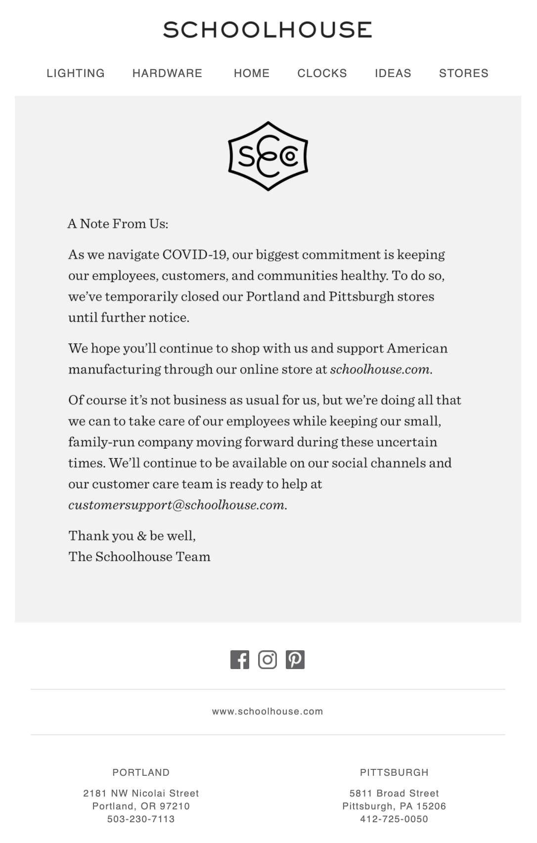email from schoolhouse talking about store closures and ways to buy online