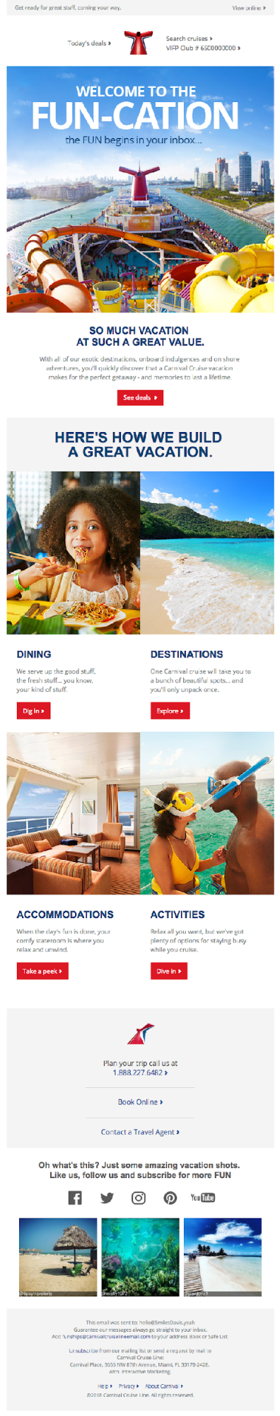 Example email for planning a vacation