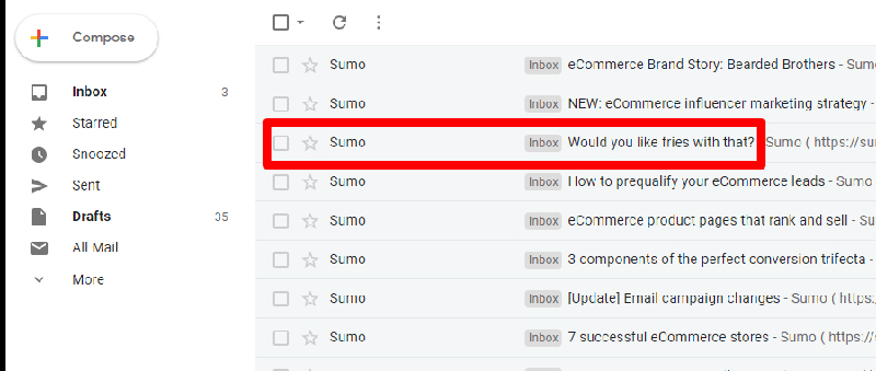 Example of a compelling subject line