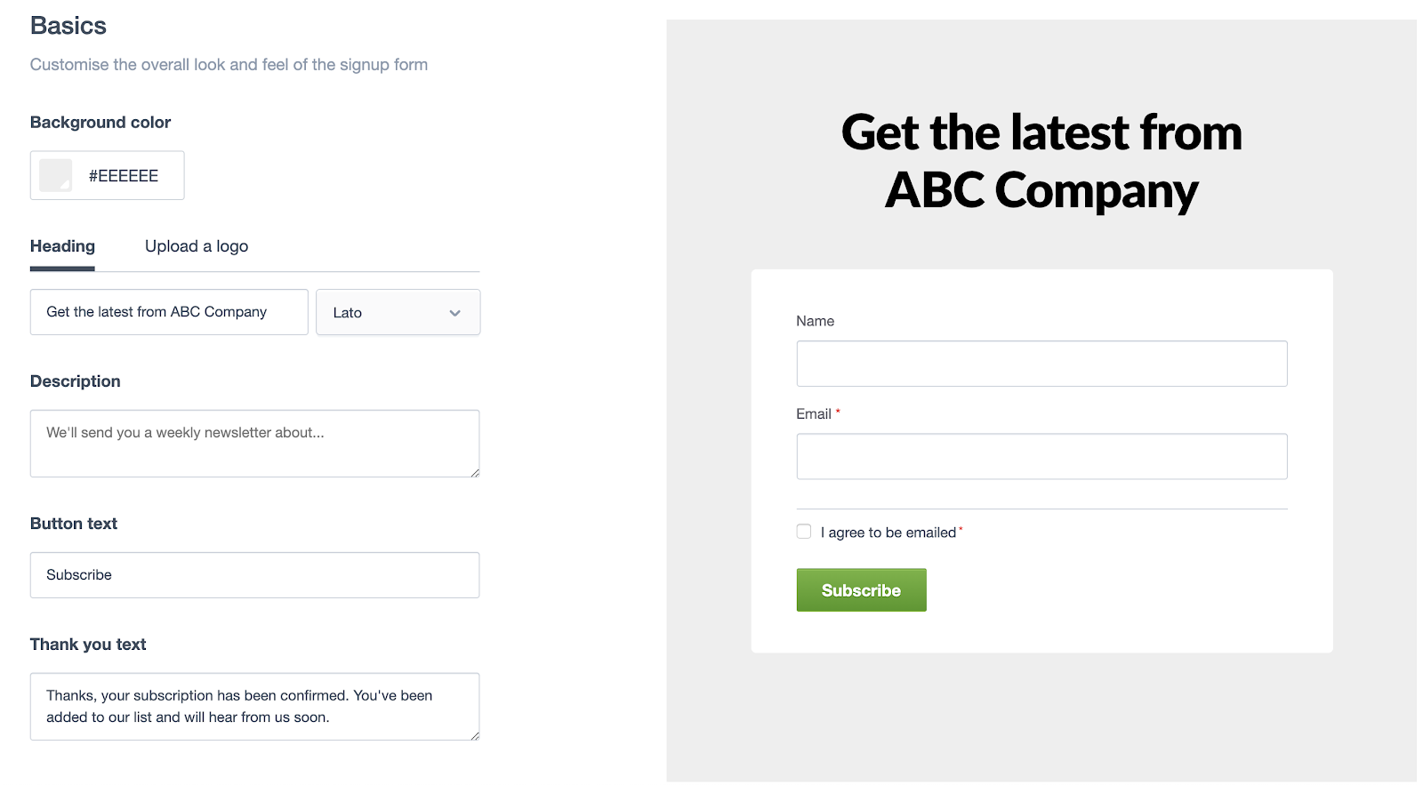 Customize Signup Form Page with Campaign Monitor