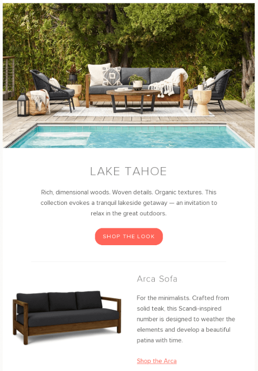 Article furniture B2C email example