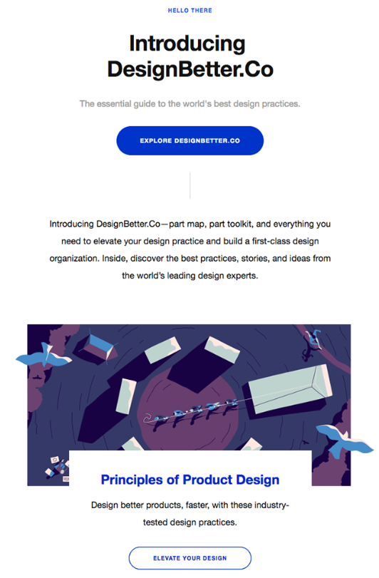 DesignBetter dot Co B2C email example with minimalistic design