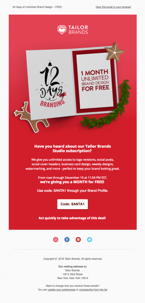 best agency promotional email example