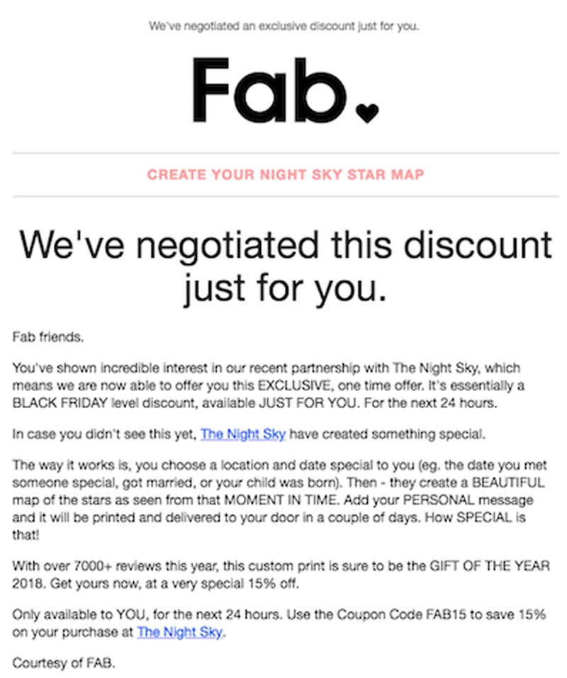 """Fab behavioral targeting coupon, with headline: """"We've negotiated this discount just for you."""""""
