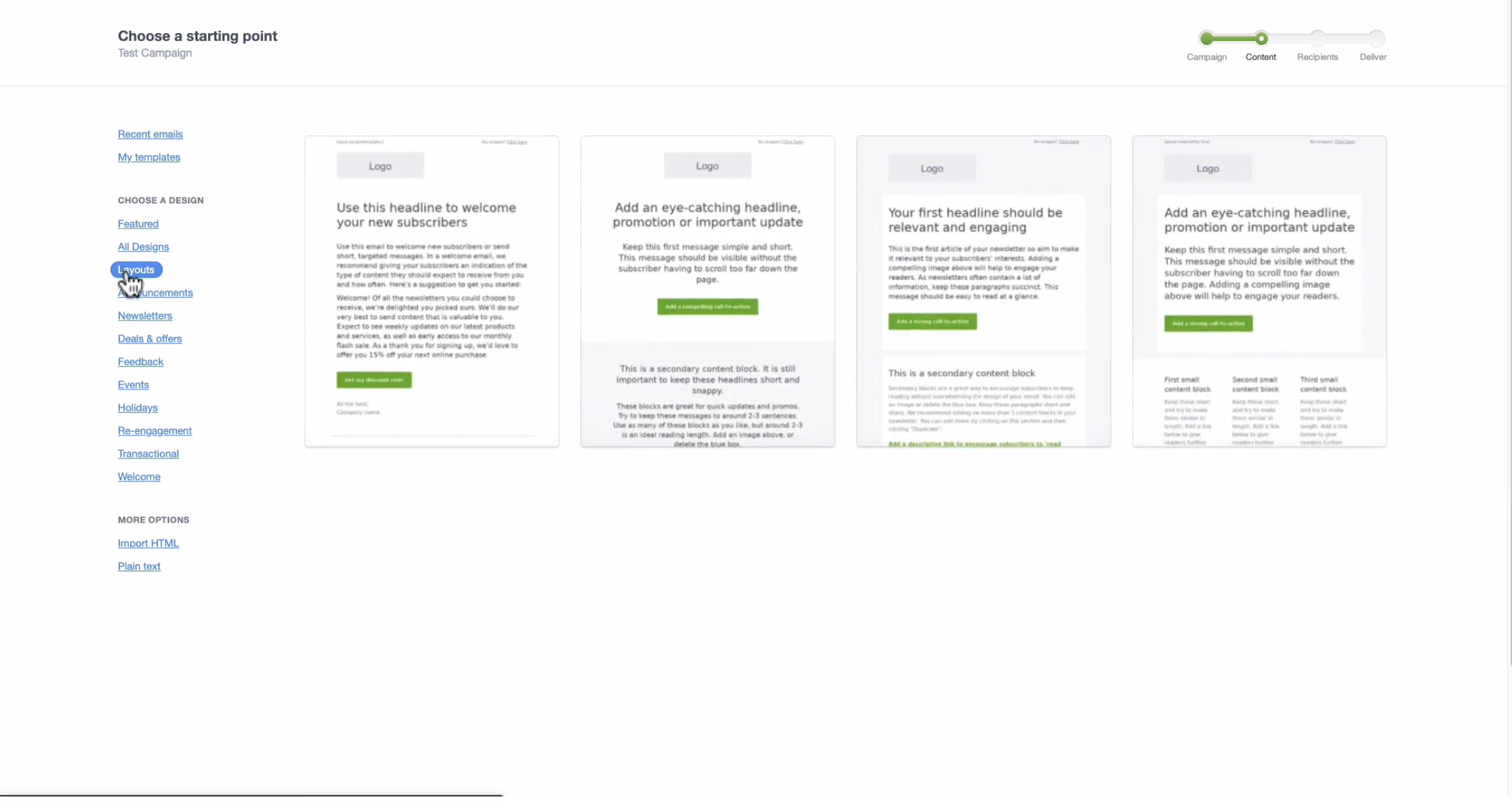 Our new layout templates make designing your own branded email even simpler