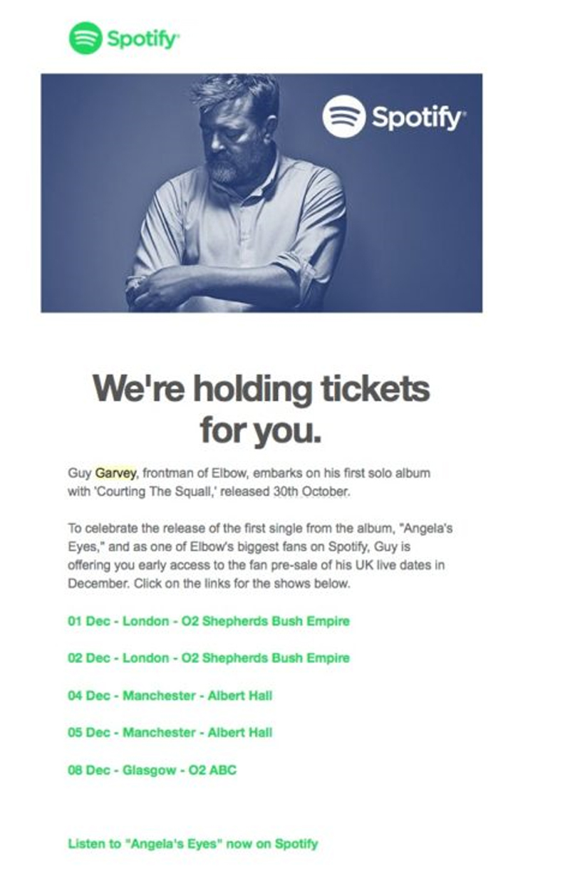 Email from Spotify that cross sells concert tickets to users that downloaded an album