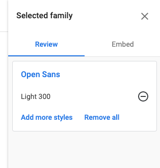 The first step of selecting a web font for your emails through Google