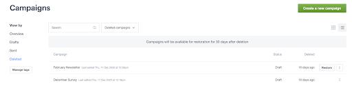 restore deleted campaigns