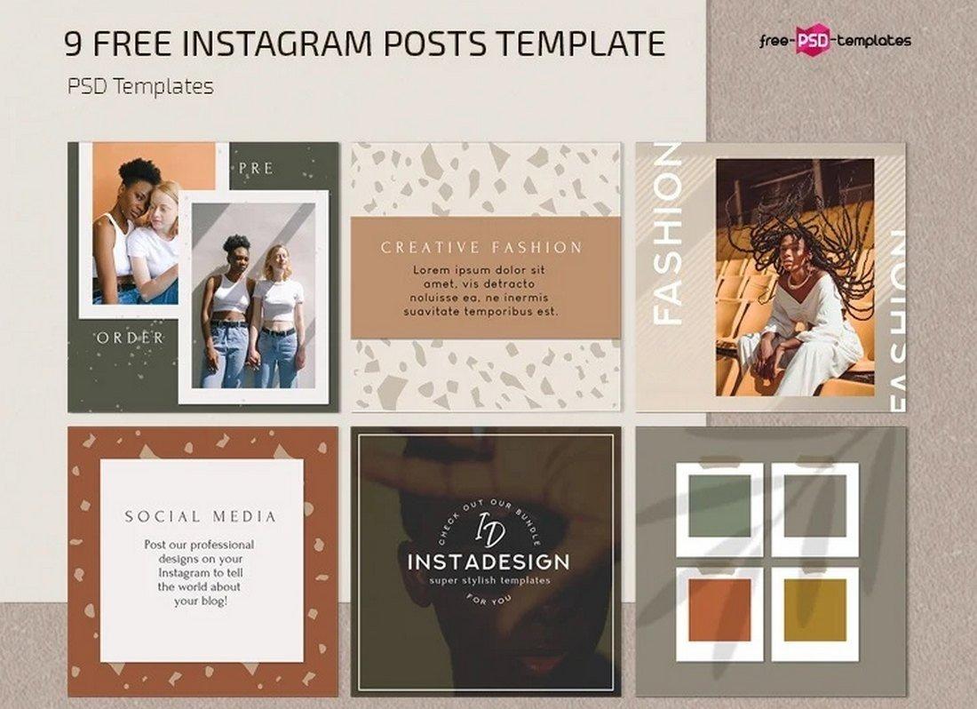 Free Fashion Instagram Frame Templates