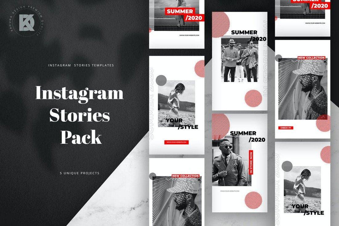 Red & Black Instagram Frame Story Templates