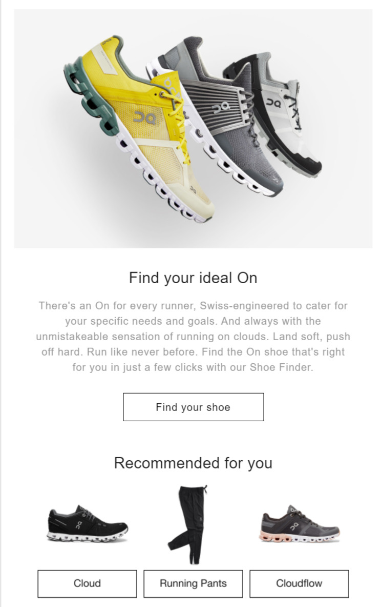 retail product recommendations email example