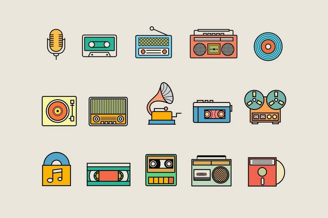 15 Vintage Audio Icon Pack