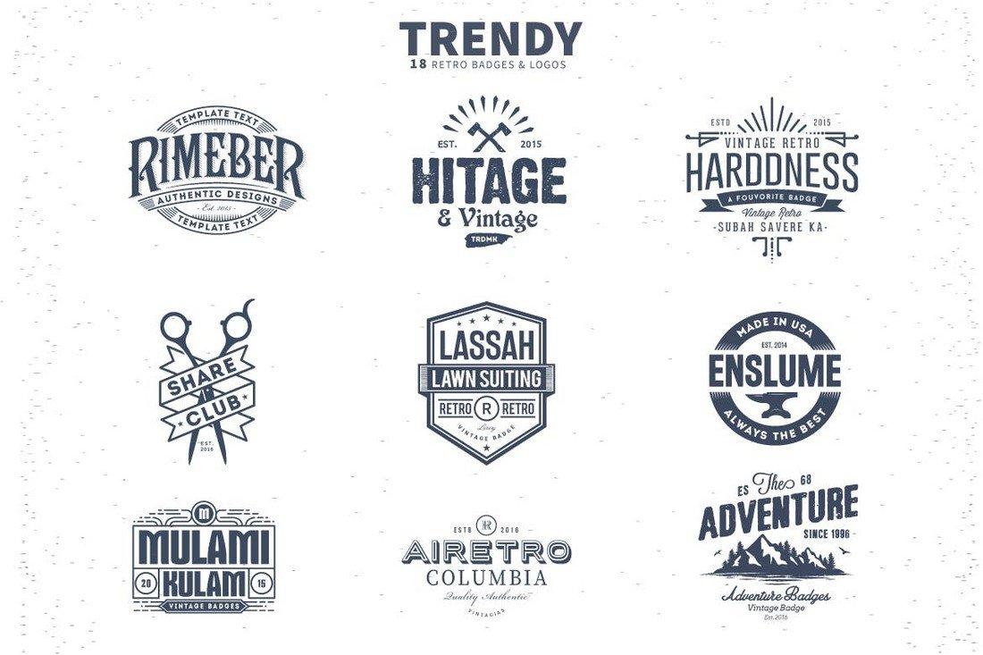 18 Trendy Retro Badges and Logo Templates