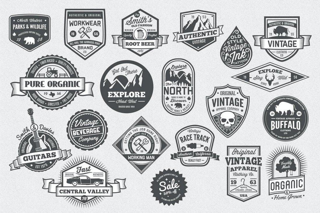 20 Vintage Style Badge & Logo Templates