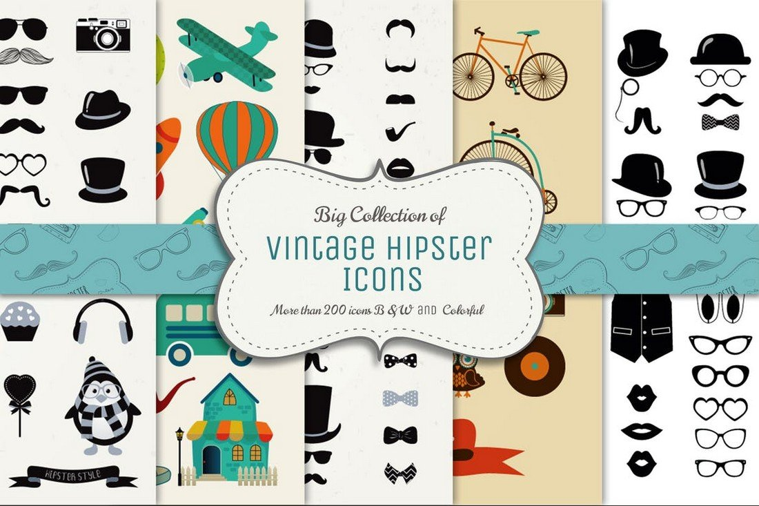 200+ Vector Vintage Icons Pack