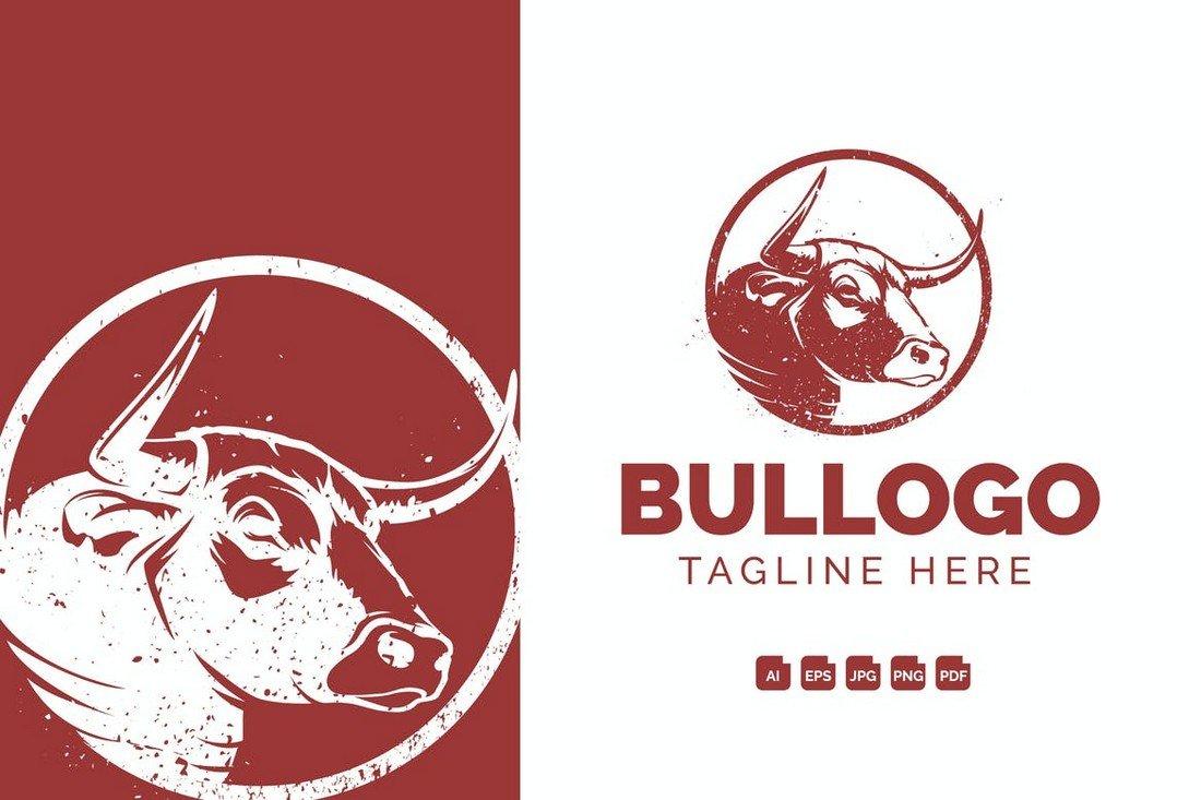 Bull Head Vintage Logo Template