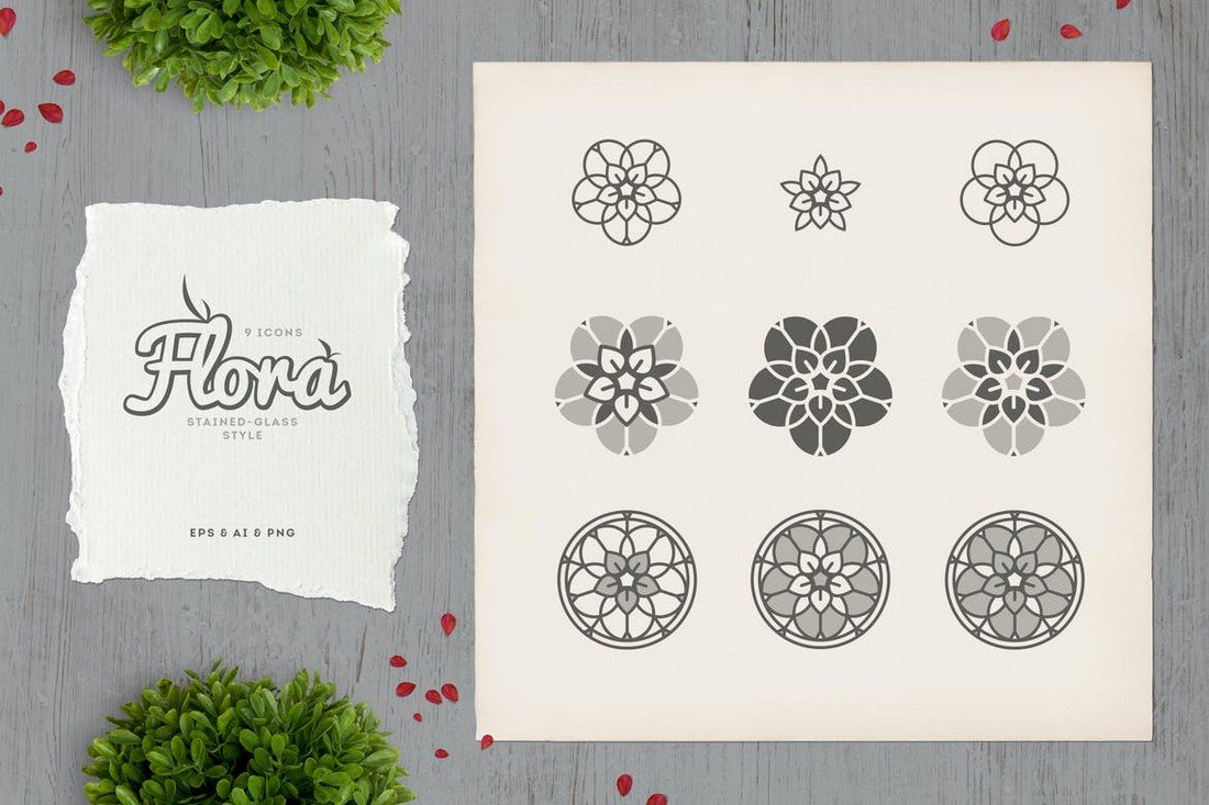 Flora - Vintage Stained Glass Icons