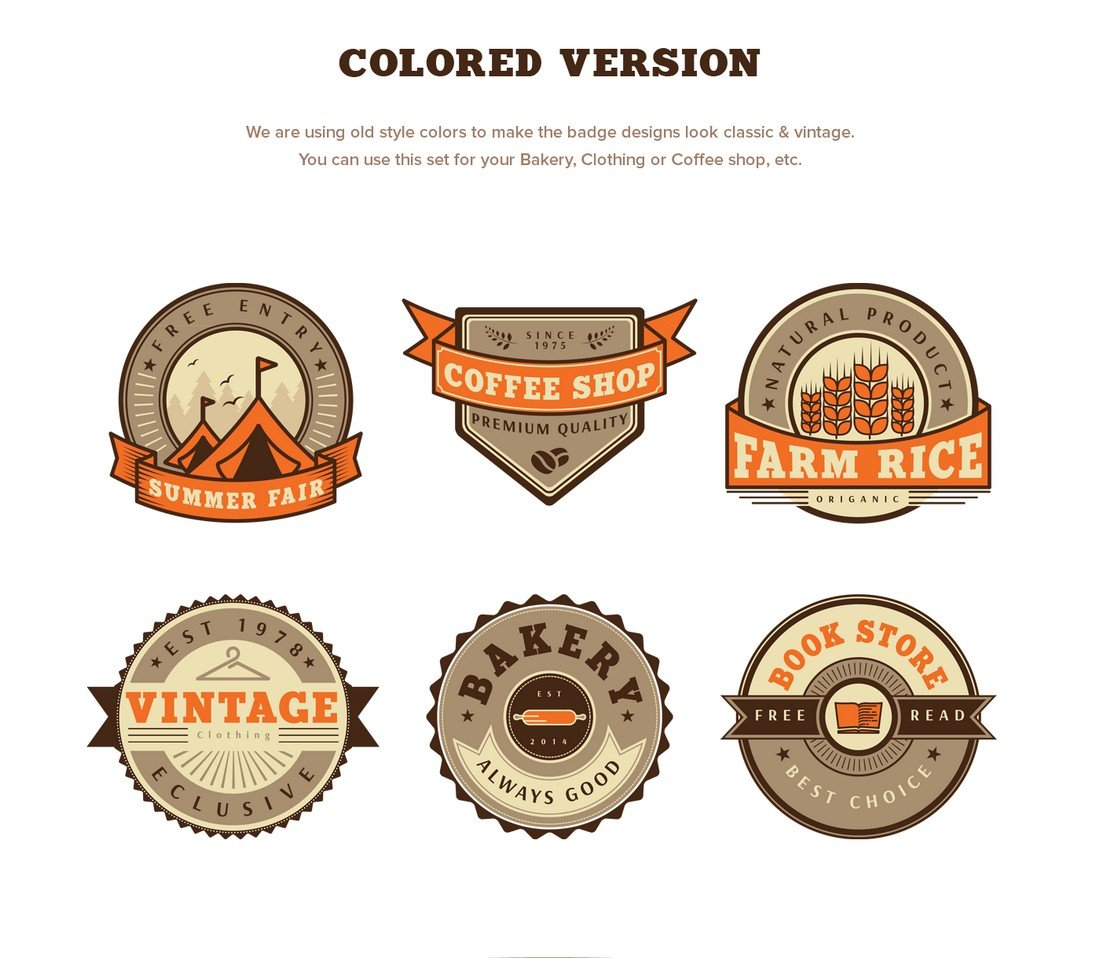 Free Colorful Vintage Badges Templates