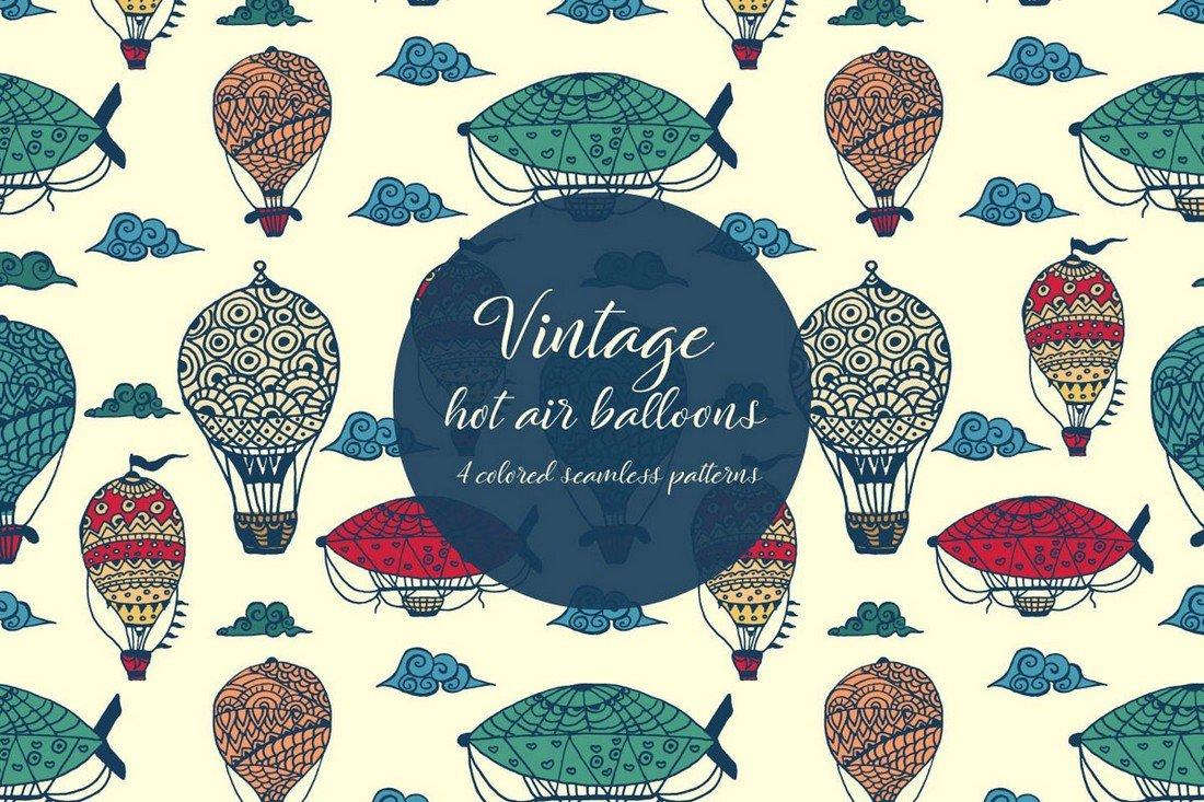 Free Vintage Hot Air Balloons Pattern
