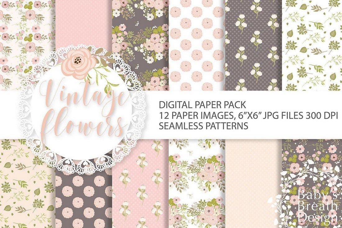 Vintage Floral Seamless Patterns Pack