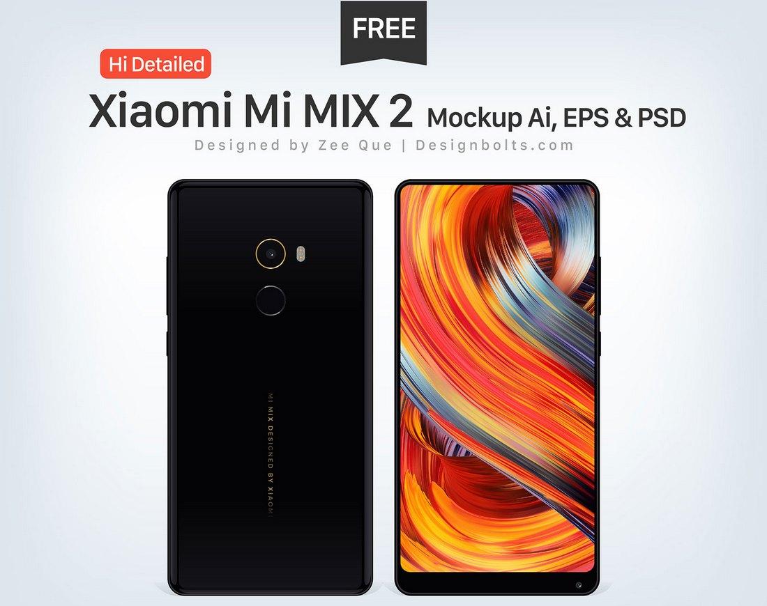 Free Xiaomi Mi MIX 2 Mockups EPS & PSD