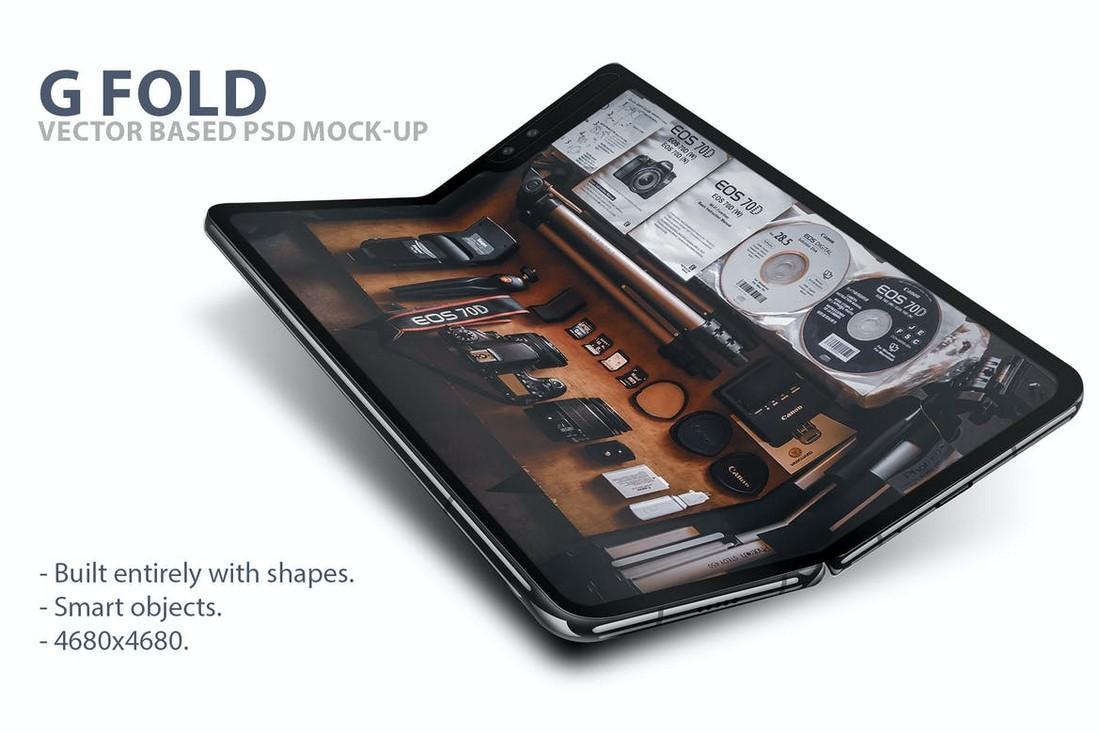 G Fold Smartphone PSD Mockup