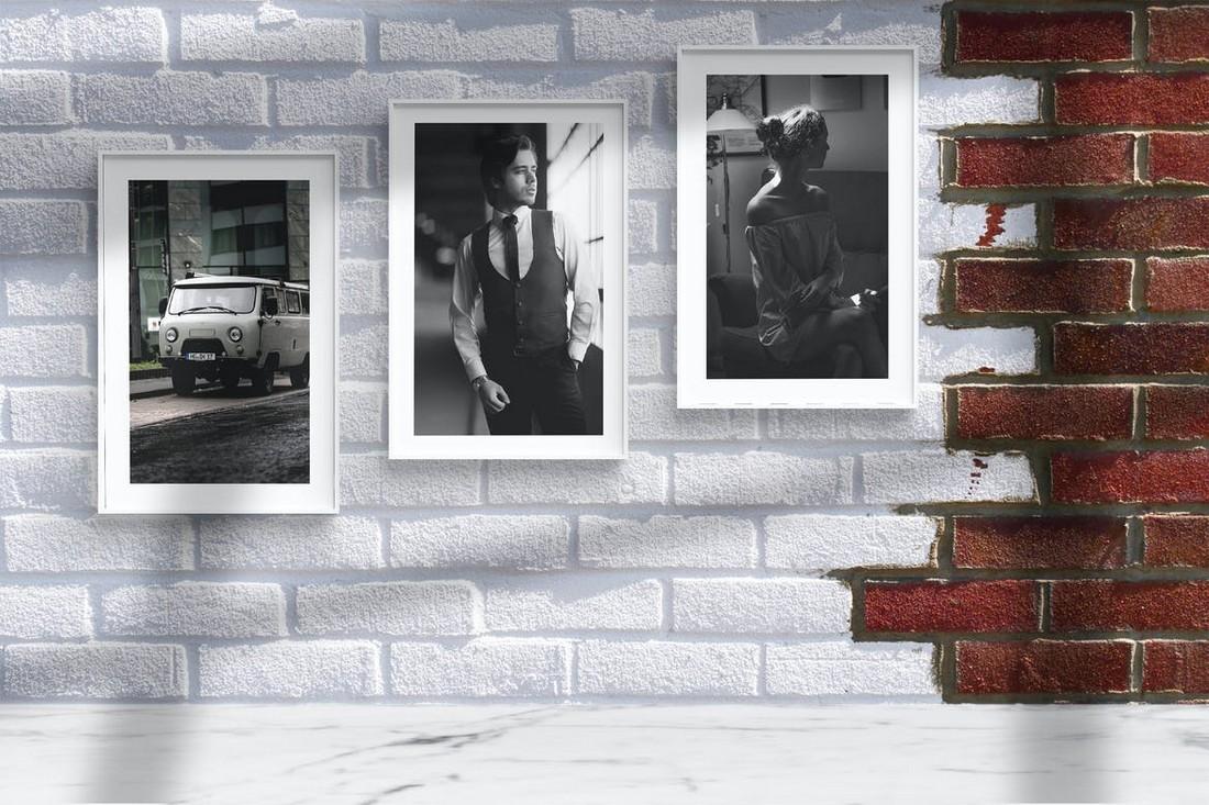 Photo Frame Mockups with Wall