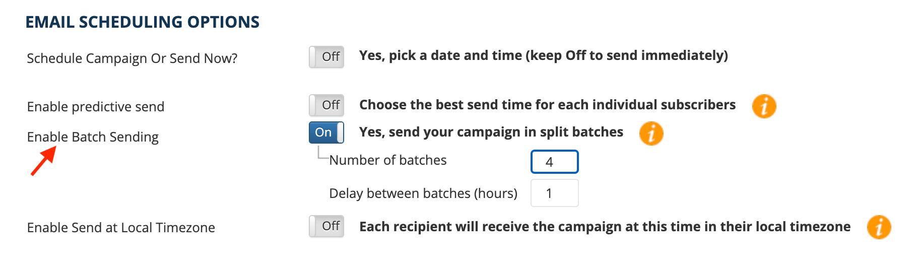 email scheduling auto batch