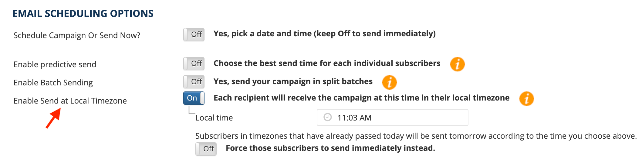 email scheduling time zone