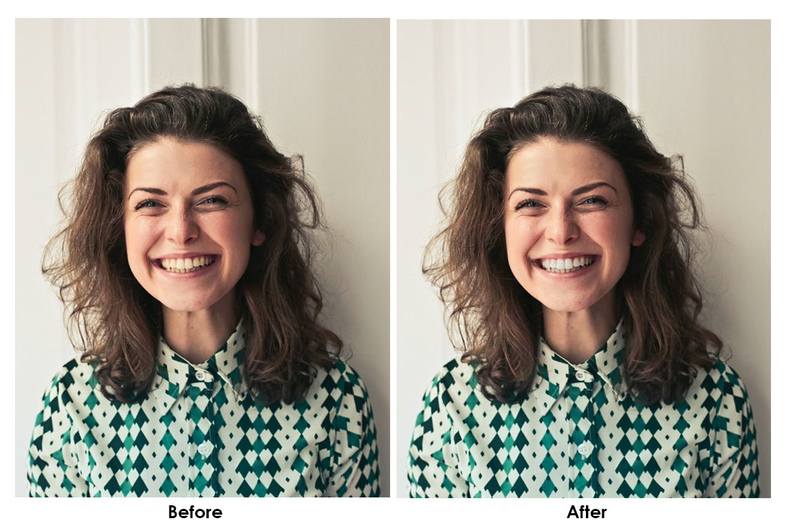 how to whiten teeth photoshop - before after