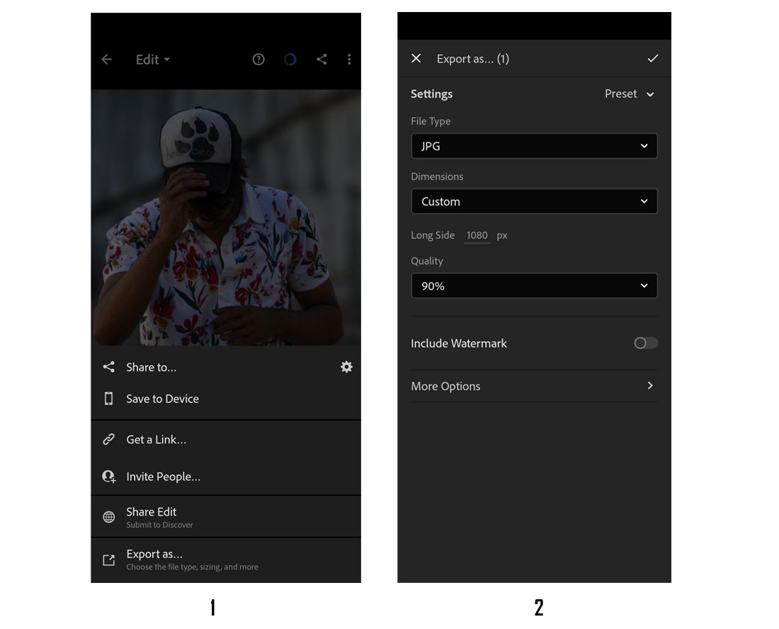 instagram lightroom editing export settings mobile