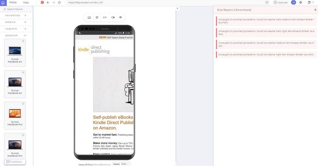 lt browser errors
