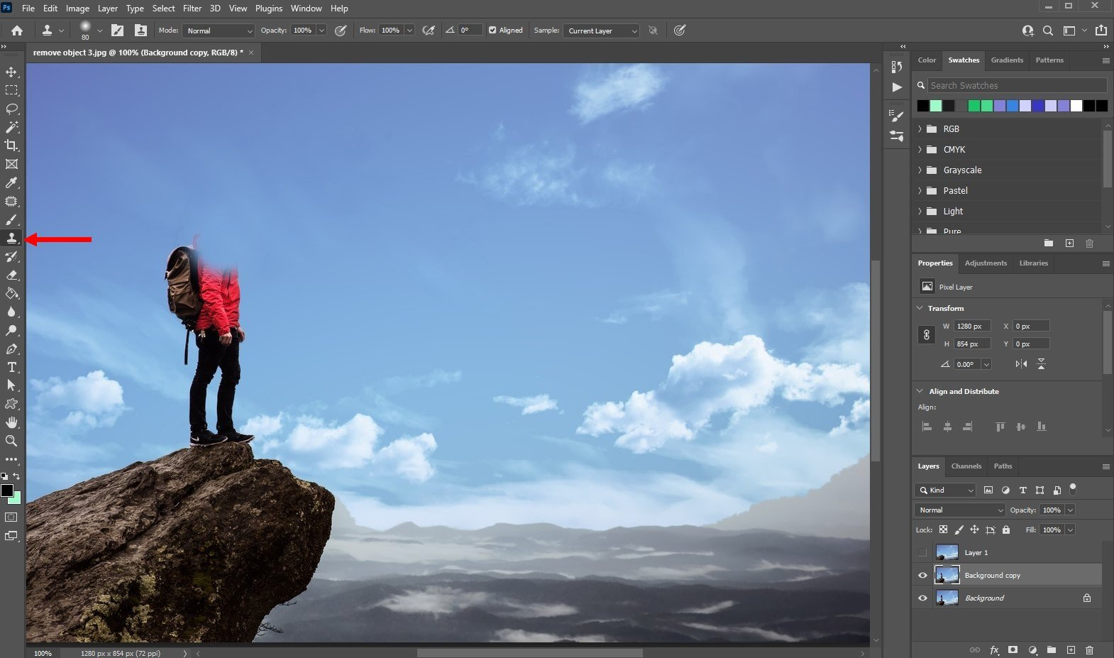 remove an object in photoshop - using clone tool - 1
